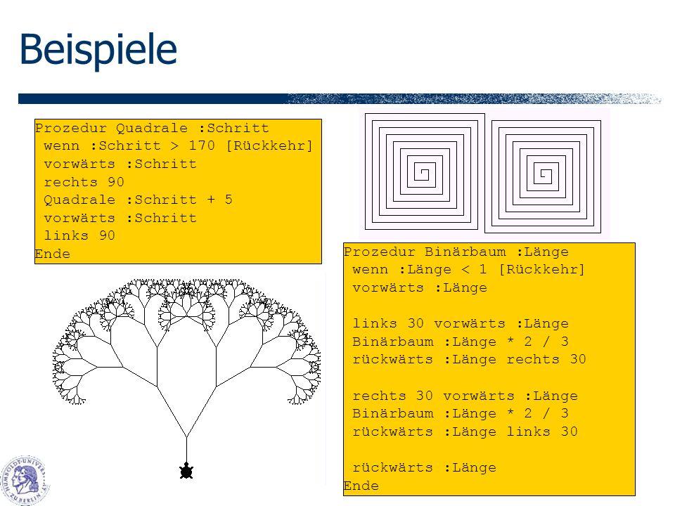 Beispiele Prozedur Quadrale :Schritt wenn :Schritt > 170 [Rückkehr]
